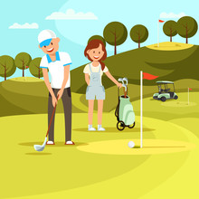 Young Man And Woman Playing Golf On Field. Sport.