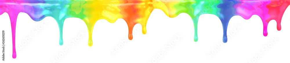 Fototapety, obrazy: Drip spectrum color paint isolated with clipping path included