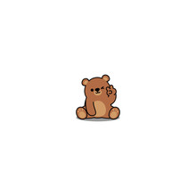 Cute Bear Showing V Sign Hand And Winking Eye Cartoon Icon, Vector Illustration