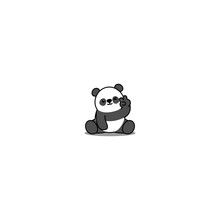 Cute Panda Showing V Sign Hand And Winking Eye Cartoon Icon, Vector Illustration