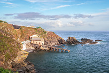 View Of Lizard Point In Cornwall - The Most Southern Point Of England's Mainland. Copy Space In Sky.