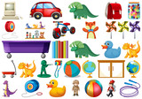 Fototapeta Dinusie - Set of children toys