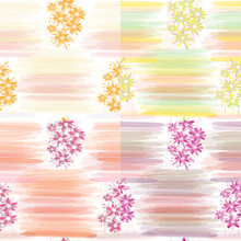 Set Of Four Floral Seamless Patterns With Horizontal Watercolor Stripes