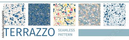 Fototapeta Lettering Set Terrazzo Seamless Pattern Design obraz