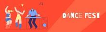 Dance Fest DJ Disco Club Party Flat Style Banner