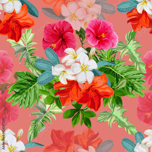 Seamless pattern tropical flower -vector