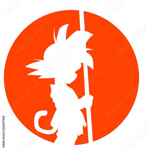 Fotomural  Goku niño naranja