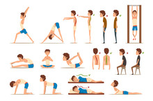 Teen Boy Doing Exercises Set, Correct And Wrong Spine Posture, Rehabilitation Exercise For Back Pain And Improving Posture Vector Illustrations On A White Background