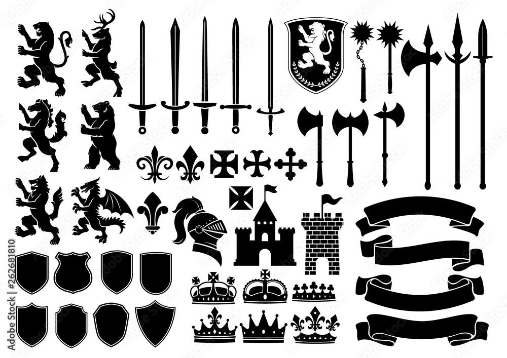 Fototapeta Heraldry silhouette mega set
