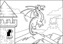 Black And White Coloring Page Dragon In The Castle