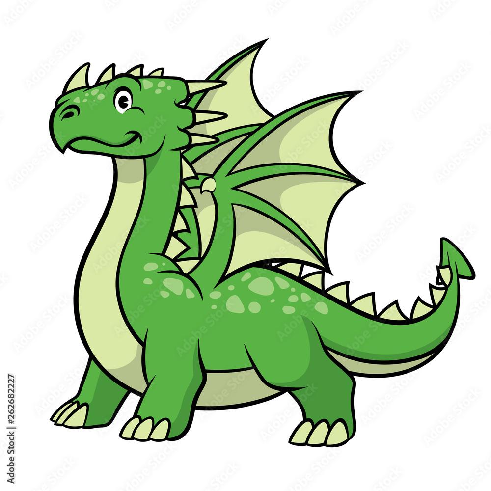Fototapeta cartoon green dragon smiling