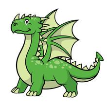 Cartoon Green Dragon Smiling