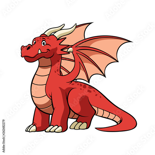 Obraz na plátně cartoon red dragon in smiling face