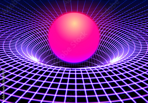 Fotografie, Obraz Black hole or gravity grid with glowing ball or sun in 80s synthwave and style