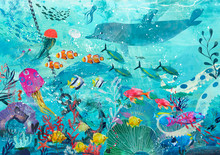 Blue Underwater Background Wit...