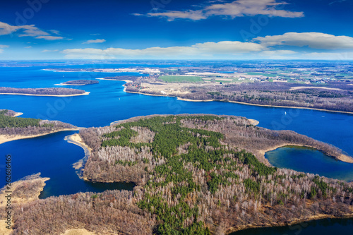 Foto auf AluDibond Cappuccino Spring in Masuria from a bird's eye view, Poland