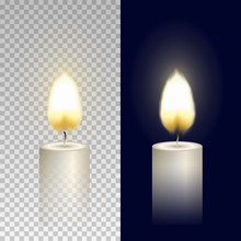 Wax Round Candle With Burning Flame Light Isolated On Transparent Background. Vector Candlelight Element Design.