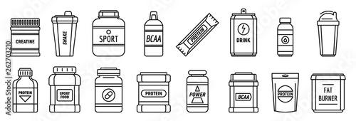 Fotografia Protein sport nutrition icons set