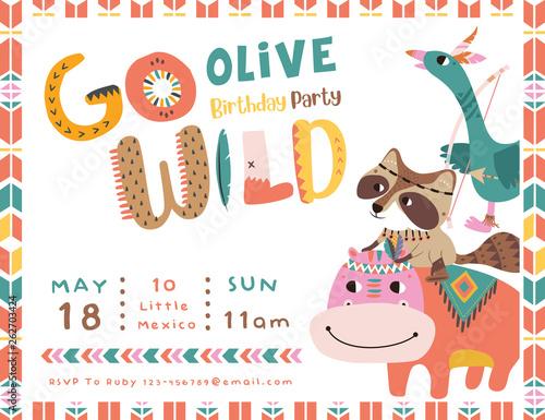Happy birthday party invitation card with cartoon tribal animals Canvas Print