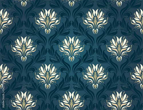 Canvas Print Damask Seamless Pattern