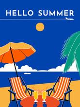 Hello Summer Travel Poster. Su...