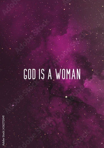 Pinturas sobre lienzo  God is a woman quote Ariana Grande song lyrics with purple sky background