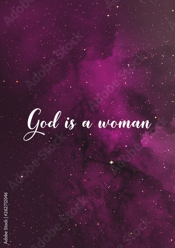 Fotografía  God is a woman quote Ariana Grande song lyrics with purple sky background