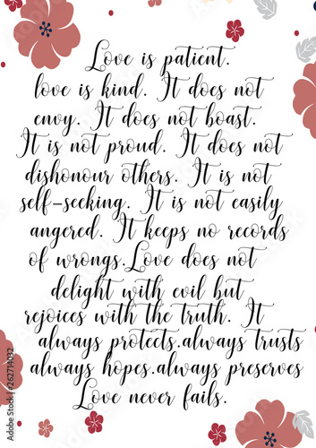 Fotografía  Love is beautiful, love is kind. Love poem with floral border