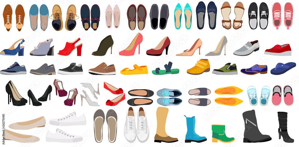 Fototapeta  set of men's and women's shoes