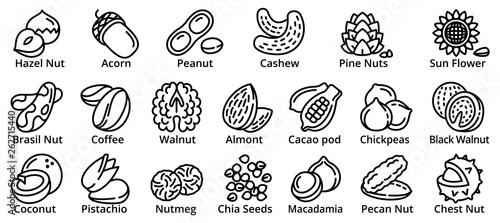 Obraz Nut icons set. Outline set of nut vector icons for web design isolated on white background - fototapety do salonu