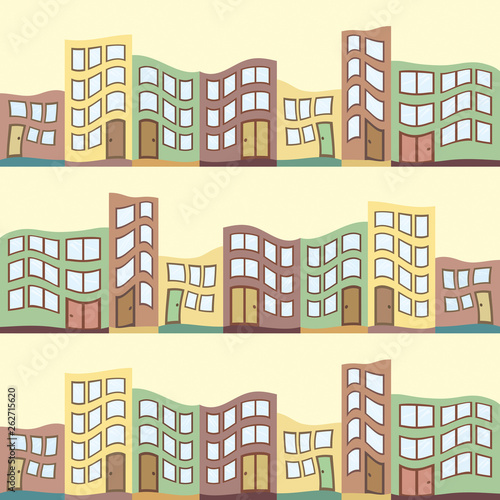 Seamless pattern with houses Canvas Print