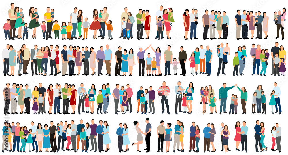 Fototapety, obrazy: vector, isolated, set of people in flat style