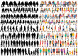 isolated, set of people in flat style