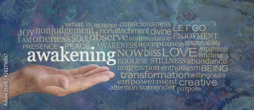 Photo Spiritual Awakening Word Tag Cloud - male hand with the word AWAKENING floating