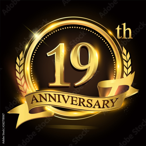 Платно  19th golden anniversary logo with ring and ribbon, laurel wreath vector design