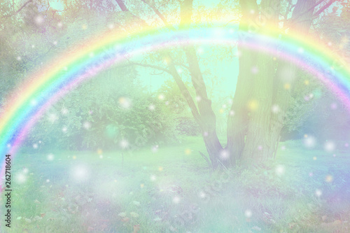 Join in the fun of an Easter egg hunt outdoors - bright arcing rainbow spanning Canvas Print