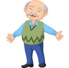 Cartoon Happy Senior Elderly Old Man