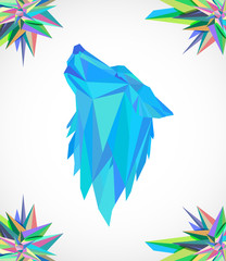 Colorful wolf head on a light background with abstract 3d figures.