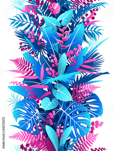 Poster Grafische Prints Tropical Plants Colorful Vertical Seamless Pattern