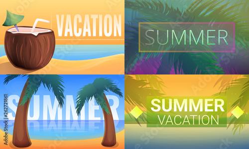 Fotografiet  Sunny tropical resort banner set