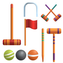 Croquet Icons Set. Cartoon Set...