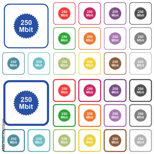 Fotografia  250 mbit guarantee sticker outlined flat color icons