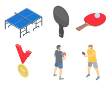 Table Tennis Icons Set. Isometric Set Of Table Tennis Vector Icons For Web Design Isolated On White Background