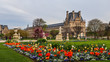 Leinwandbild Motiv Marvelous spring Tuileries garden and view at the Louvre Palace Paris France. April 2019.