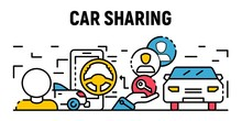 City Car Sharing Banner. Outline Illustration Of City Car Sharing Vector Banner For Web Design