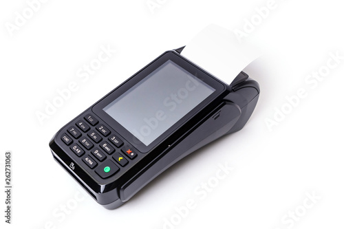 Fototapety, obrazy: Pos terminal on a white background. Banking equipment. Acquiring. Acceptance of bank credit cards. Contactless payment.