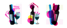 Idea For Wine Event. Illustration Of Bottle And Wine Glass With Dotted Pattern, Retro 80s Style, Bright Colors, Pop Art. For Brochures, Posters, Invitations Or Banners.