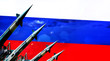 canvas print picture - Nuclear missiles and Russia flag in background