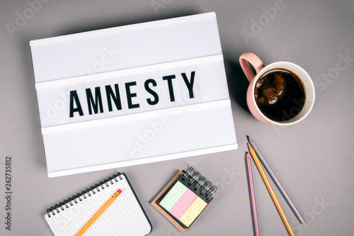 Amnesty. Text in light box. Pink coffee mug on gray background Canvas Print