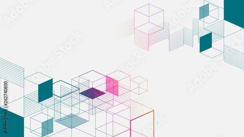 Fotografía Colorful isometric geometric abstract background